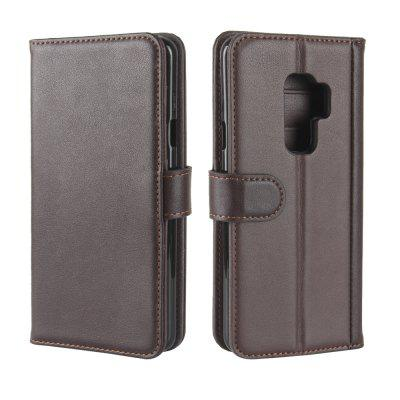 Solid Color Real Cow Leather Wallet Style Front Buckle Flip Case with Card Slots for Samsung Galaxy S9 Plus