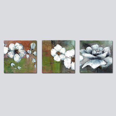 QiaoJiaHuaYuan No Frame Canvas Living Room Sofa Background Decoration Hanging Painting Triplet Painting Flowers