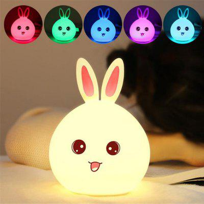 Rabbit LED Night Light Bedside Lamp Silicone Touch Sensor Tap Control