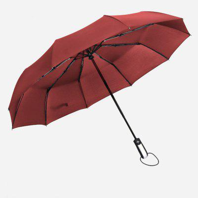 Fully-Automatic Three Folding Male Commercial Compact Large Strong Frame Windproof 10ribs Gentle Black Umbrellas