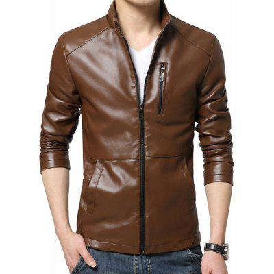 Leather Collar Men Leather Coat New Slim Fashion