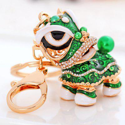 Creative Gifts Chinese Style Lion Dance Unicorn Alloy Key Chain Fashion Girls Bag Ornaments Car Accessories
