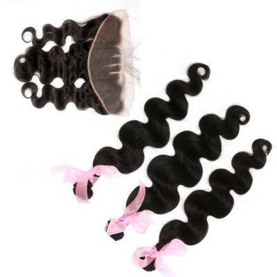 Body Wave 100% de perucas humanas peruanas Weave 4pcs com 1pc Lace Frontal