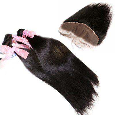 Silky Straight 100% Brazilian Virgin Hair Weave 3pcs com 1pc Lace Frontal