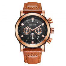 OCHSTIN GQ064A Men Leather Quartz Sport Multifunction Wrist Watch