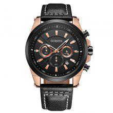OCHSTIN GQ065 Men Leather Quartz Sport Multifunction Wrist Watch