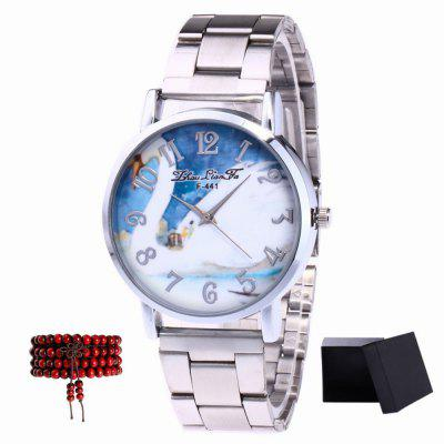 ZhouLianFa New Silver Band White Goose Figure Quartz Watch with Gift Box and Beads