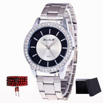 ZhouLianFa Top Brand Silver Band Lady Quartz Watch with Gift Box and Bead