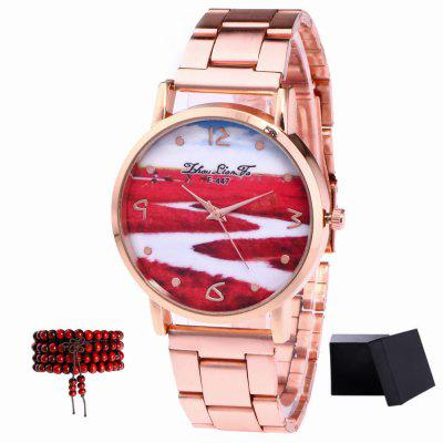 ZhouLianFa New Rose Gold Steel Flower Chart Quartz Watch with Gift Box and Beads