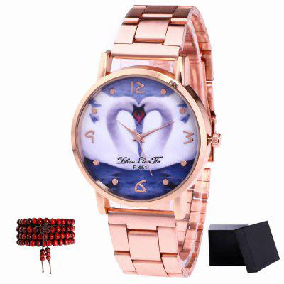 ZhouLianFa New Rose Gold Strip Double Goose Figure Quartz Watch with Gift Box and Beads