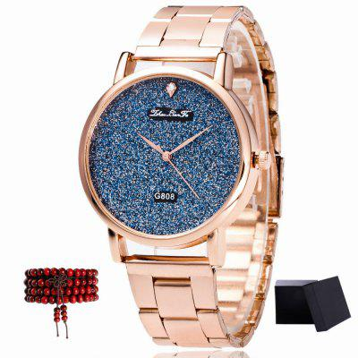 ZhouLianFa New Brand Rose Gold Strap Luxury Blue Quartz Watch with Gift Box and Beads