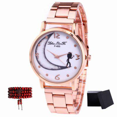 ZhouLianFa New Rose Gold Strip Half-Moon Quartz Watch with Gift Box and Beads