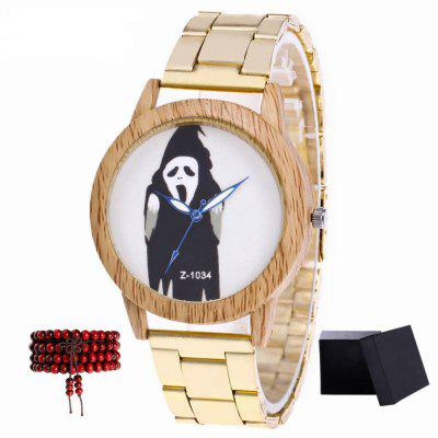 ZhouLianFa The New Brand of Gold Steel Strap Funny Pattern Luxury Quartz Watch with Gift Box and Beads