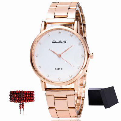 ZhouLianFa New Rose Gold Band White Quartz Watch with Gift Box and Beads