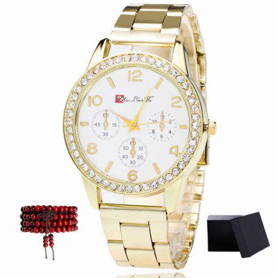 ZhouLianFa Steel Band Ladies Quartz Watch with Gift Box and Beads