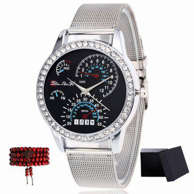 ZhouLianFa New Models Silver Mesh with Diamond Car Face Pattern Quartz Watch with Gift Box and Beads