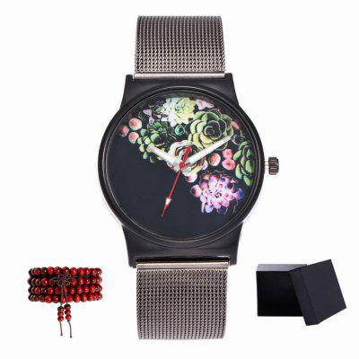 Kingou New Black Mesh Pattern Lady Business Quartz Watch with Gift Box and Bead