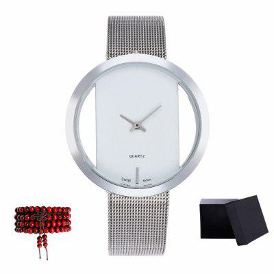 Kingou New Silver Mesh Quartz Watch with Gift Box and Beads