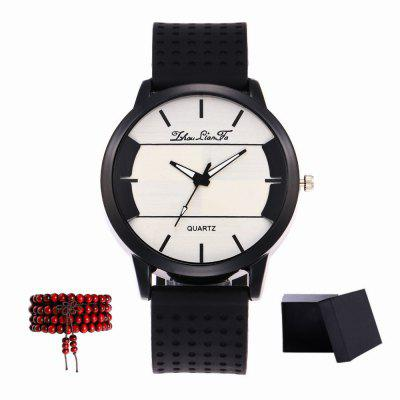 Kingou New Black Dial Silicone Quartz Watch with Gift Box and Beads
