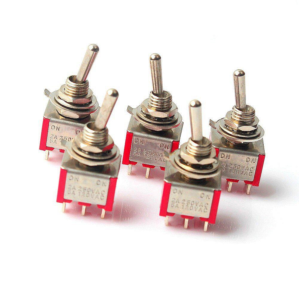 6P Toggle Switch For Electronics Diy Ac 250V 2A 120V 5A Spdt On/Off/On(5Pcs)