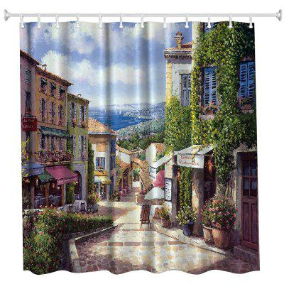 Oil Painting City 5 Polyester Shower Curtain Bathroom  High Definition 3D Printing Water-Proof