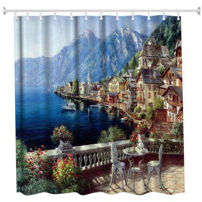 Polyester Shower Curtain Bathroom  High Definition 3D Printing Water-Proof