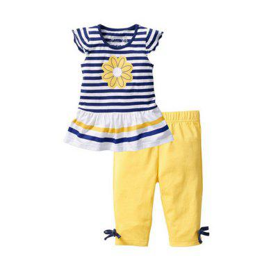Girls Pants Two Pieces Pure Sunflower Stripes