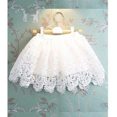 Girls Cashew Flowers White Lace Yarn Skirt летние шины pirelli 205 55 r16 91v cinturato p7