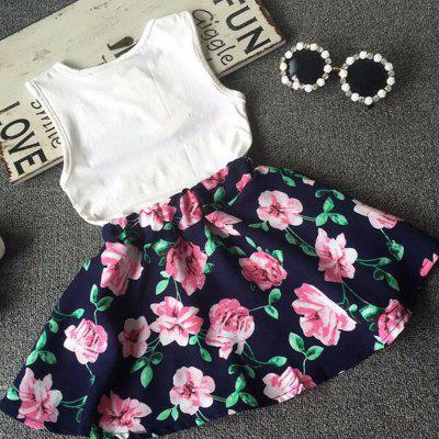 Girl LOVE Alphabet Sleeveless Vest + Child Skirt Two Pieces summer child suit new pattern girl korean salopettes twinset child fashion suit 2 pieces kids clothing sets suits