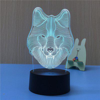 3D Wolf USB Touch And Control 7 Colour Night Light Bedroom Bedside LED Lamp