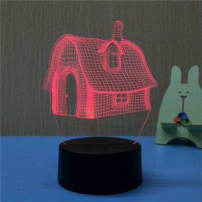 3D House USB Touch And Control 7 Colour Night Light Bedroom Bedside LED Lamp