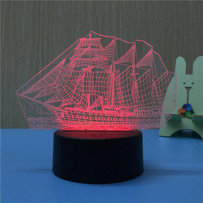 3D Sailing USB Touch And Control 7 Colour Night Light Bedroom Bedside LED Lamp