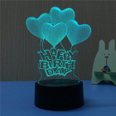 3D Happy Birthday USB Touch And Control 7 Colour Night Light Bedroom Bedside LED Lamp