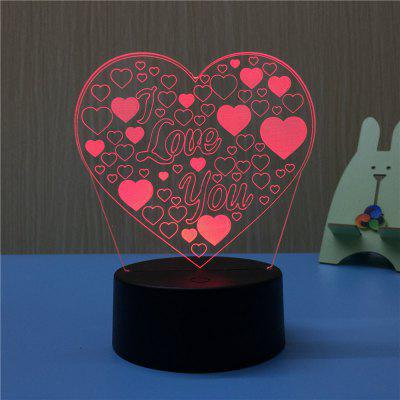 3D Heart Shape I Love You USB Touch And Control 7 Colour Night Light Bedroom Bedside LED Lamp