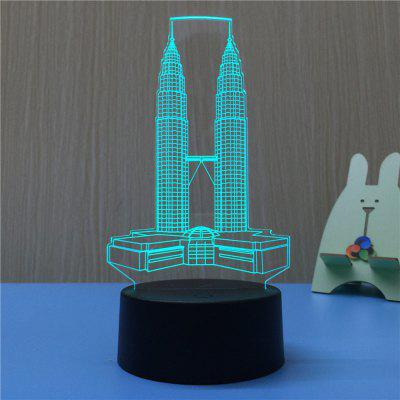 3D The Twin Towers USB Touch And Control 7 Colour Night Light Bedroom Bedside LED Lamp