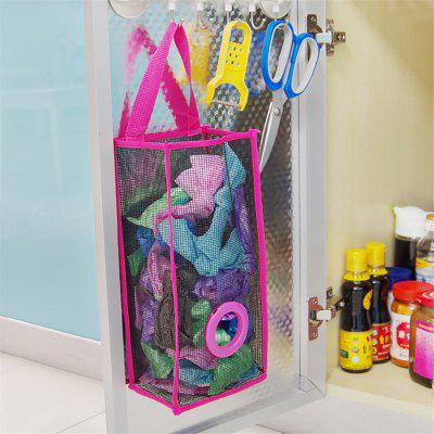 Hanging Mesh Garbage Bag Organizer Dispenser Kitchen Wall Mount Reusable Grocery  Bags Holder Net Trash Bag