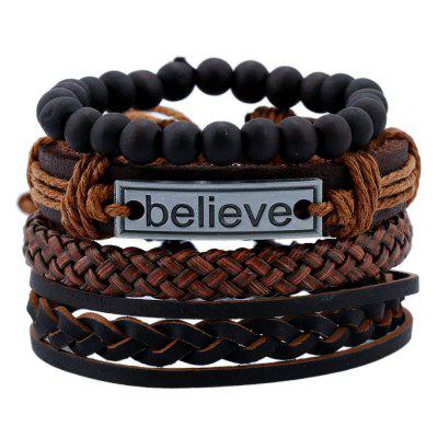 Believe Pattern Cowhide Suit Men 'S Bracelet Hand - Woven Leather Bangles