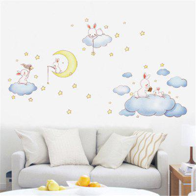 New Style Cute Rabbit Moon Children Bedroom Decoration Wall Stickers