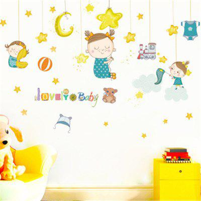 Creative Lovely Star Girl Children Bedroom Decoration Wall Stickers