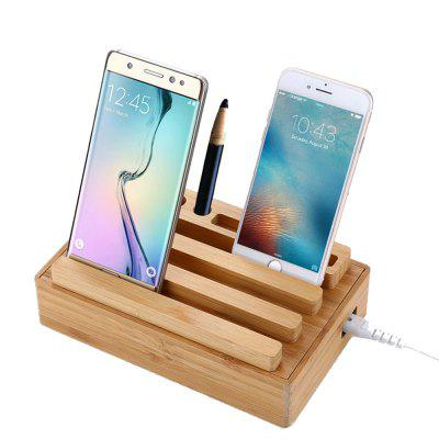 Zuoqi USB Charger 4 USb Adaptor Bamboo Holder Dock Charging Station