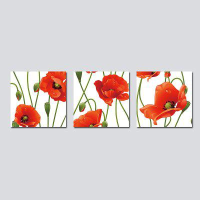 QiaoJiaHuaYuan No Frame Canvas Living Room Sofa Background Simple Modern Three With Red Flower Adornment Hang a Picture