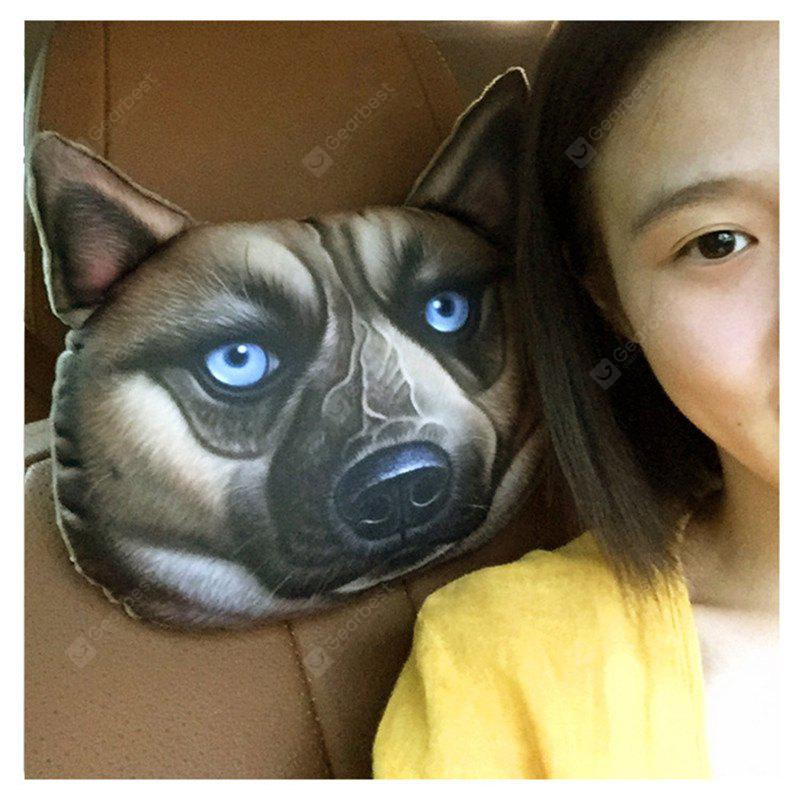 Car Styling Lovely 3D Printed Animals Face Car Activated Carbon Headrest Pillow Soft Neck Rest Cushion