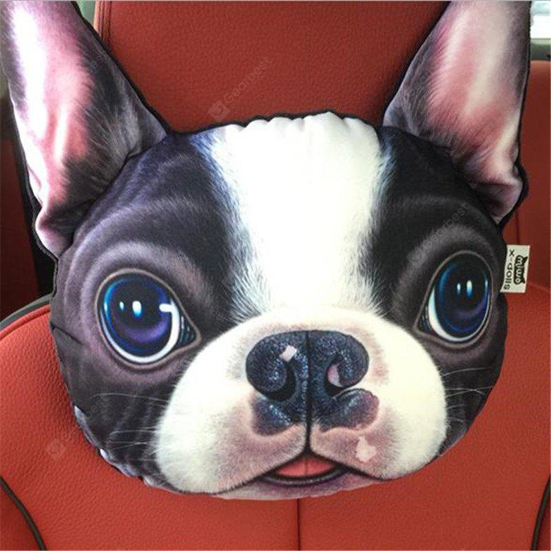 3D Animal Head Car Neck Pillow Travel Seat Plush Creative Dog Face Sofa Seat Cushion with Back