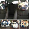 3D Animal Head Car Neck Pillow Travel Seat Plush Creative Dog Face Sofa Seat Cushion with Back - WHITE AND BLACK