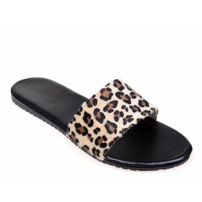 Flat Bottom Leopard Antiskid Open-toed Sandals