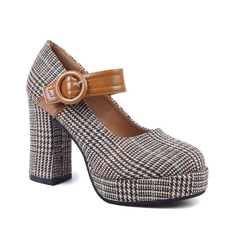 Round Head and High Heel Single Shoes BROWN 37