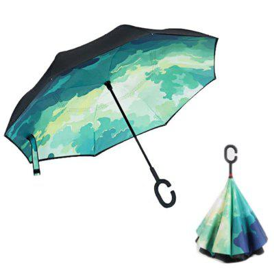 Buy GREEN Windproof Reverse Folding Double Layer Inverted Umbrella Self Stand Umbrella Rain for $24.15 in GearBest store