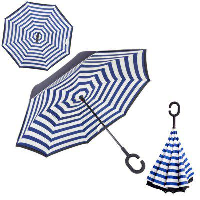 Buy BLUE STRIPE Windproof Reverse Folding Double Layer Inverted Umbrella Self Stand Umbrella Rain for $24.15 in GearBest store