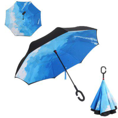 Buy BLUE SKY + CLOUD Windproof Reverse Folding Double Layer Inverted Umbrella Self Stand Umbrella Rain for $24.15 in GearBest store
