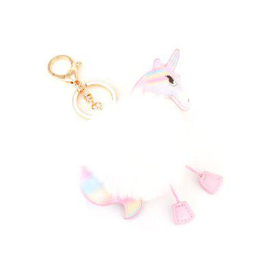 Car Key Chain Creative Unicorn Plush Pony Pendant Fashion Wild Bag Fur Ball Ornaments